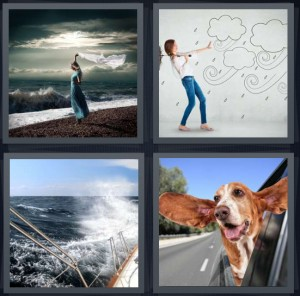 4 Pics 1 Word Answer 5 letters for woman standing on breezy beach, woman pushing away cartoon storm, waves crashing over sailboat, dog with head out window