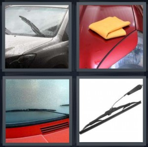 4 Pics 1 Word Answer 5 letters for grey dirty car, red car being wiped down and cleaned, windshield of red car, blade that removes water from windshield