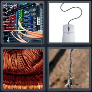 4 Pics 1 Word Answer 5 letters for network motherboard with cords and cables, computer mouse, copper cord for construction, barbed fence