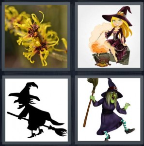 4 Pics 1 Word Answer 5 letters for hazel yellow flower, woman with costume and cartoon cauldron, silhouette of woman riding broomstick, magic woman with green face