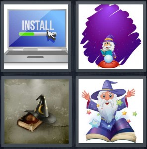 4 Pics 1 Word Answer 6 letters for install download on computer, magic man with crystal ball, witch hat with book, magic man casting spell with stars