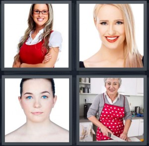 4 Pics 1 Word Answer 5 letters for female in red sweater, model with blond hair, girl with blue eyes, grandmother cooking wearing red apron