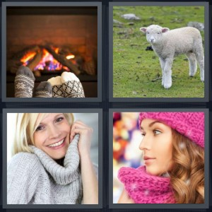 4 Pics 1 Word Answer 6 letters for socks by fireplace couple warming feet, lamb in field, woman wearing thick sweater, woman with matching hat and scarf