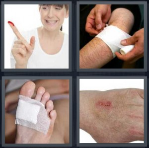 4 Pics 1 Word Answer 5 letters for woman with blood on finger, man putting bandage on leg, cut on bottom of foot with bandage, scrape on skin surface