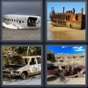 4 Pics 1 Word Answer 5 letters for plane crash in ocean, sunken ship washed to beach, car crashed into woods rusted, rusted car in desert