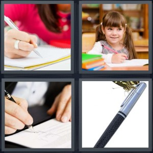4 Pics 1 Word answers, 4 Pics 1 Word cheats, 4 Pics 1 Word 5 letters woman in red sweater taking notes in notebook, little girl student in library, man signing contract, silver and black fountain pen
