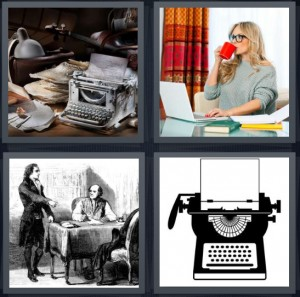 4 Pics 1 Word Answer 6 letters for papers on desk with typewriter and lamp, author at computer drinking coffee, founding fathers drafting framework, typewriter with blank sheet