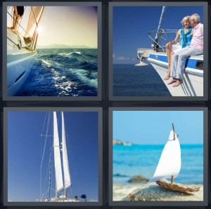 4 Pics 1 Word answers, 4 Pics 1 Word cheats, 4 Pics 1 Word 5 letters boat on water cutting through waves, couple sitting on edge of boat sailing, sails of boat against blue sky, toy boat