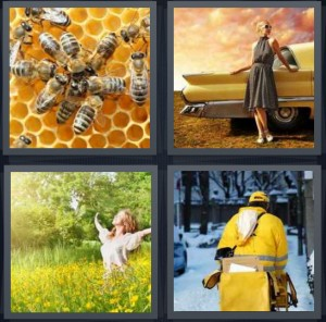 4 Pics 1 Word Answer 6 letters for bees in honeycomb, woman standing by antique Cadillac in vintage dress, woman in field with flowers, mailman delivering in snow