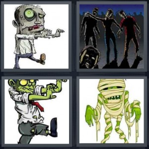 4 Pics 1 Word Answer 6 letters for cartoon monster with bulging eyeball, living dead looking to eat, cartoon horror green screen torn clothes, mummy with bandages