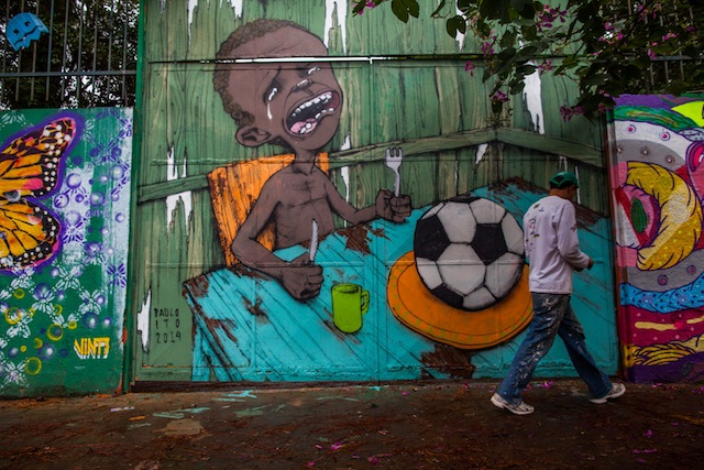 world cup graffiti child soccer ball