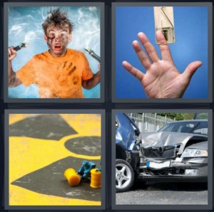 4 Pics 1 Word Answer 8 letters for boy with hair fried after electrocuting self, man with finger caught in trap, caution hazard symbol, car crash fender bender