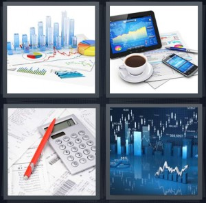 4 Pics 1 Word Answer 8 letters for bar charts with figures, computer and tablet and phone with coffee, calculator with red pen, graphs showing increase stocks