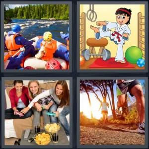 4 Pics 1 Word Answer 8 letters for family white water rafting, cartoon of karate master, women playing video games, couple jogging in sunrise