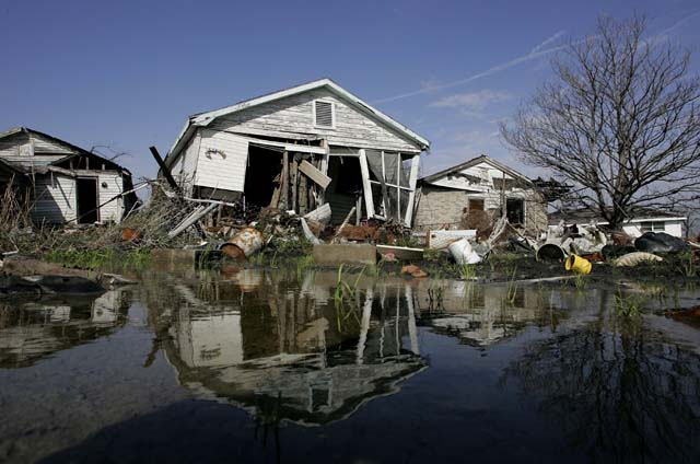 Infrastructure and houses destroyed in the aftermath of Hurricane Katrina. (Getty)