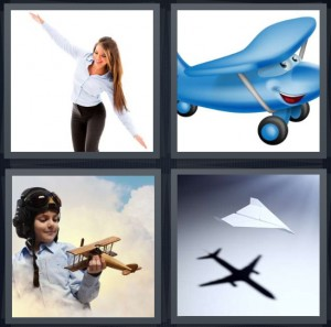 4 Pics 1 Word Answer 8 letters for woman with arms out, cartoon blue plane with eyes, woman pilot in sky, shadow of paper plane
