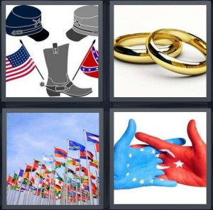 4 Pics 1 Word Answer 8 letters for icons for Civil War, gold wedding bands rings, flags from many nations, Europe and Soviet Union