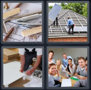 4 Pics 1 Word Answer 8 letters for screws and building materials, men installing solar on roof, man building white table, classroom with computers