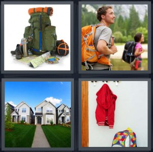 4 Pics 1 Word Answer 8 letters for pack with tent and map, people trekking through mountains hiking, house with long sidewalk, red jacket hanging on wall