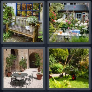 4 Pics 1 Word Answer 8 letters for wooden bench outside house, garden with iron table, wrought iron patio set, wheelbarrow in green garden