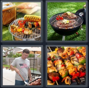 4 Pics 1 Word Answer 8 letters for grill with food on top, steaks on grill in grass, American man cooking outside, chicken and vegetable skewers