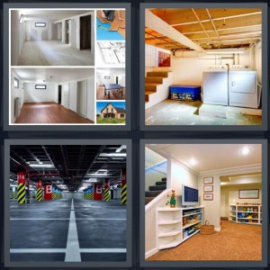 4 Pics 1 Word Answer 8 letters for house plans not done, unfinished downstairs in house, parking garage with concrete, downstairs living room