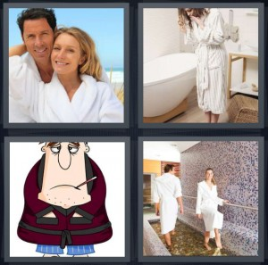 4 Pics 1 Word Answer 8 letters for couple in white robes, woman in bathroom with tub, cartoon of sick old man, people at spa in robes