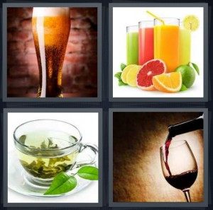 4 Pics 1 Word Answer 8 letters for pint glass of dark beer, different types of juice with fruit, mint herbal tea in glass, wine being poured
