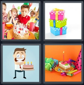 4 Pics 1 Word Answer 8 letters for kids celebrating blowing out candles, stack of colorful gifts, cartoon of man with cake, candle in cake for party