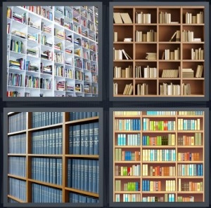 4 Pics 1 Word Answer 8 letters for books on white cube shelves, library with paperbacks, set of blue encyclopedias, shelves with many books