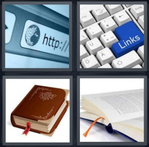4 Pics 1 Word Answer 8 letters for browser window for Internet, links button on keyboard, old book with red ribbon, book open to page