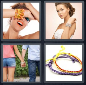 4 Pics 1 Word Answer 8 letters for model with jewelry on wrist, bride wearing pearls, couple holding hands, jewelry handmade for kids