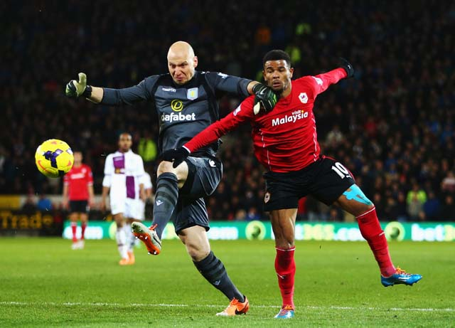 Guzan fights to get the ball away from the goal during the Barclays Premier League match between Cardiff City and Aston Villa at Cardiff City Stadium on February 11, 2014 in Cardiff, Wales. (Getty)