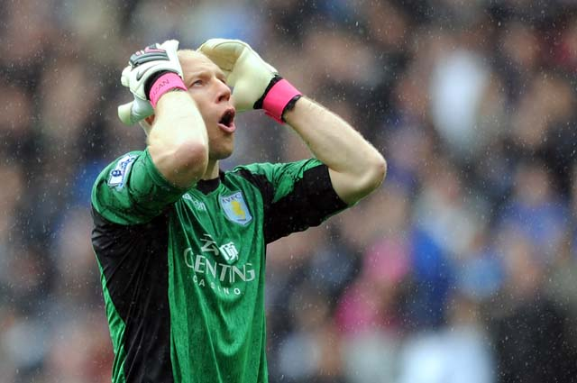 Brad Guzan of Aston Villa reacts during the Barclays Premier League match between Aston Villa and Chelsea. (Photo by Chris Brunskill/Getty Images)