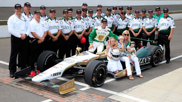 Ed Carpenter poses with his family after qualifying for the 2013 Indianapolis 500 at Indianapolis Motor Speedway. (Getty)