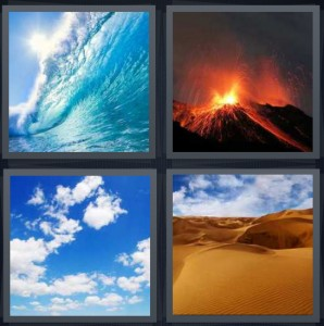 4 Pics 1 Word Answer For Wave Volcano Sky Desert Heavy Com