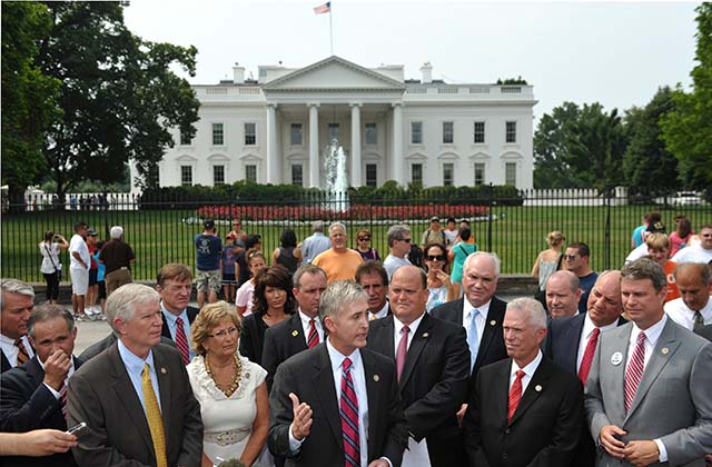 Trey Gowdy at a news conference outiside the White House with fellow freshmen Republicans in January of 2011. (Getty)