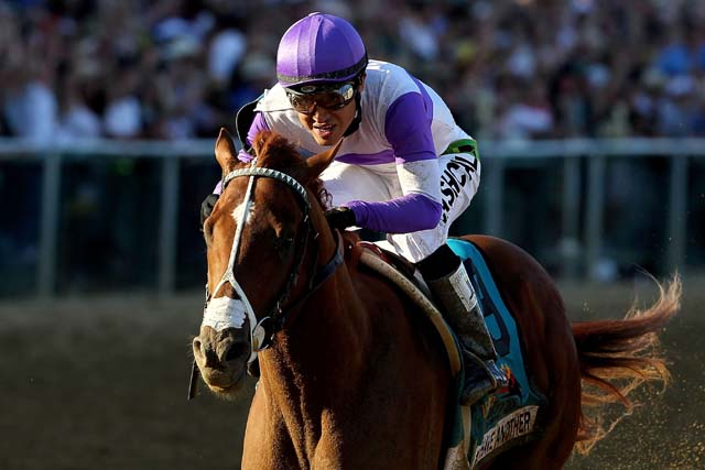 I'll Have Another races at Pimlico Race Track in 2012 with a nasal strip. (Getty)