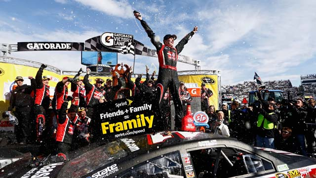 Kurt Busch celebrates his victory after the NASCAR Sprint Cup Series STP 500 at Martinsville Speedway in Martinsville, Virginia. (Getty)
