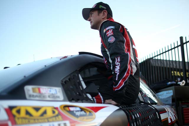 Kurt Busch sits in the indow of his car after qualifying for the NASCAR Sprint Cup Series Sprint All-Star Race at Charlotte Motor Speedway in Charlotte, North Carolina. (Getty)