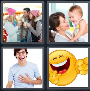 4 Pics 1 Word Answer 8 letters for family with mugs and wool hats, mother with baby, man giggling with large smile, cartoon smiley face