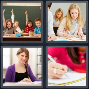 4 Pics 1 Word Answer 8 letters for kids in school class hands raised, woman in class, student in university, woman writing in notebook