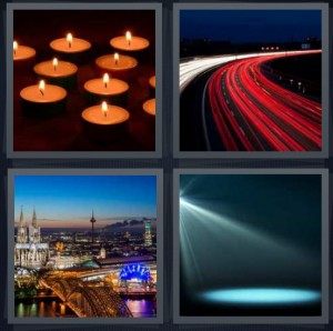 4 Pics 1 Word Answer 8 letters for candles burning tea lights, highway street lamps fast, city skyline from above, spotlight on stage