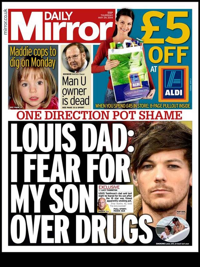Daily Mirror Cover Louis Tomlinson