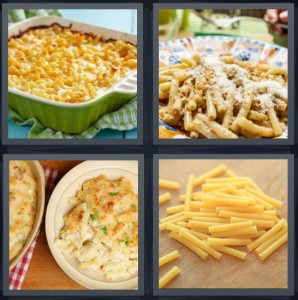 4 Pics 1 Word Answer 8 letters for baked dinner in crockery, pasta with cheese, cheesy dinner noodles, uncooked pasta noodles