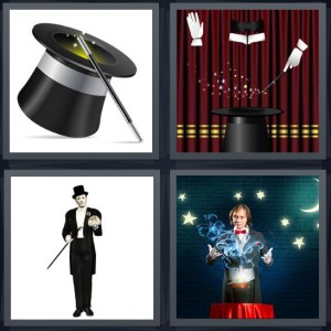4 Pics 1 Word Answer 8 letters for top hat with cane, gloves making stars come from wand, presenter man with cane and top hat, performer with light and stars