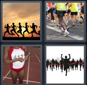 4 Pics 1 Word Answer 8 letters for people running race at sunset, runners on road, track runner with uniform and number, finish line in race