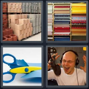 4 Pics 1 Word Answer 8 letters for bricks for construction for sale, fabric for sale in stacks, scissors cutting fabric, man recording or on radio
