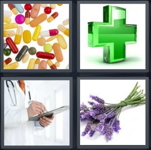 4 Pics 1 Word Answer 8 letters for pills capsules prescription, green cross for pharmacy, doctor writing on tab, lavender flowers