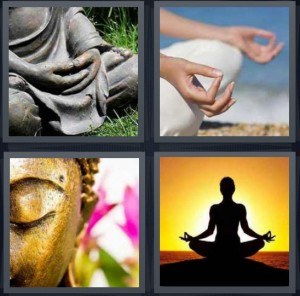4 Pics 1 Word Answer 8 letters for statue sitting down, hands clasped sitting, gold statue of Buddha, zen woman sitting in lotus